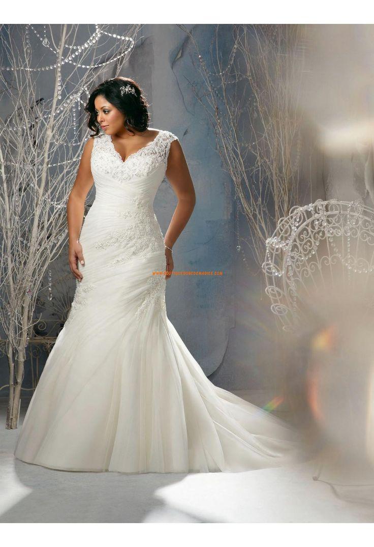 Robe de mariée grande taille appliqué dentelle perlé col V