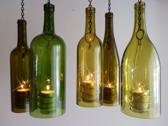 Hanging Wine Bottle Lanterns...I could totally make these.