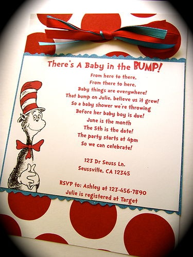 Dr Seuss Cat in the Hat Baby Shower or Birthday Party Invitations