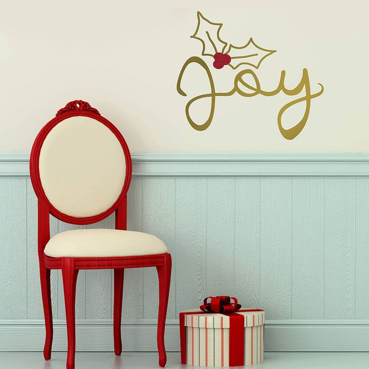 Joy christmas gold wall sticker by oakdene designs notonthehighstreet com