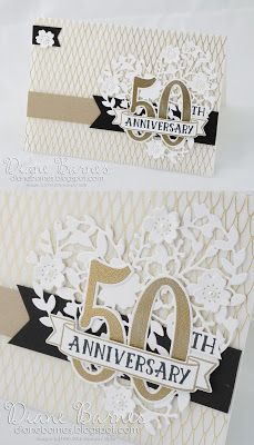 elegant 50th wedding anniversary card (easily changed for a special birthday) using Stampin Up Bloomin Love & Number of Years bundles. By Di Barnes for Just Add Ink 300. #colourmehappy