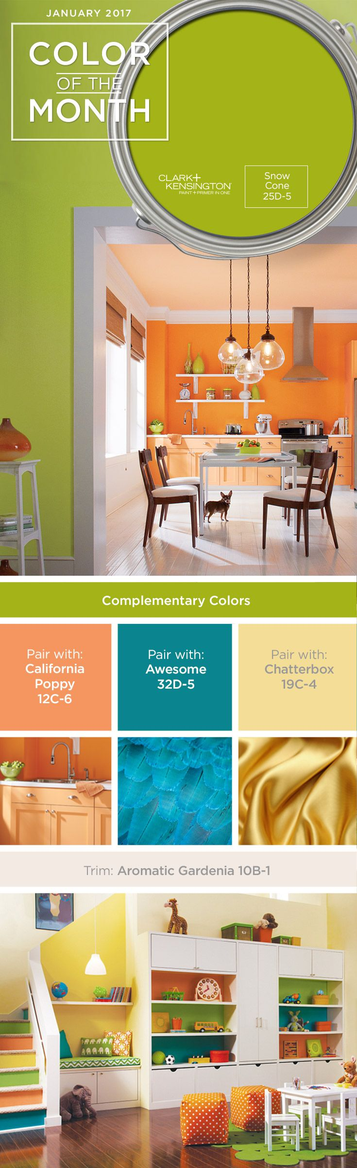 Add some color to your home with Snow Cone, our January paint color of the month from Clark+Kensington. Try adding this paint color to your kitchen, bedroom or bathroom for a pop of color that will fit perfectly with your home décor.