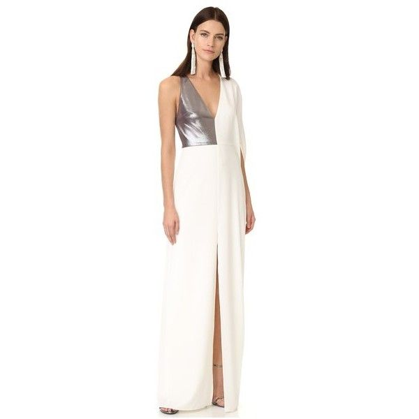 Halston Heritage Asymmetric Deep V Neck Gown (€410) ❤ liked on Polyvore featuring dresses, gowns, halston heritage gown, plunging v neck dress, white ball gowns, v-neck dresses and white evening dresses