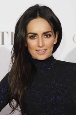 Brunette actress Ana de la Reguera wearing a blue glitter dress