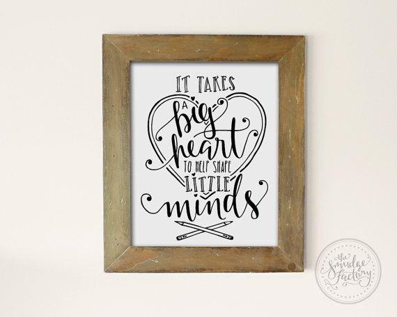 It Takes A Big Heart To Shape Little Minds • Hand-Lettered Vector Art Printable Files by The Smudge Factory on Etsy