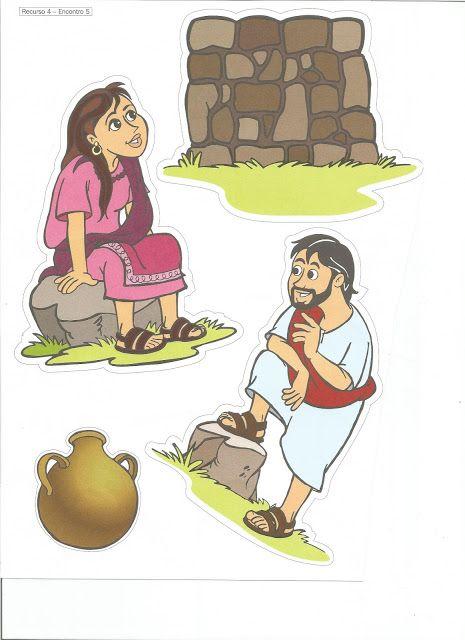 VISUAIS BÍBLICOS DA HISTÓRIA BÍBLICA INFANTIL A MULHER SAMARITANA.   RECORTEI OS VISUAIS E COLEI EM ROLINHO DE PAPEL HIGIÊNICO .   FONTE ...