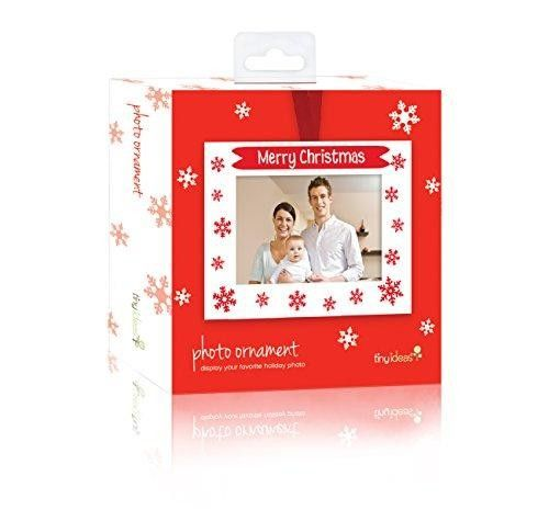 Tiny Ideas Merry Christmas Photo Ornament, Red  Celebrate Christmas with this adorable Tis the Season photo ornament. The red ornament features white snowmen and snowflakes and Tis the Season painted in red. The perfect addition to any tree Features : An ornament perfect for displaying a family photo *Red ornament with white snowflakes and snowmen and red text *Includes space for family photo Color : Red