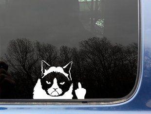 Grumpy car finger car decal