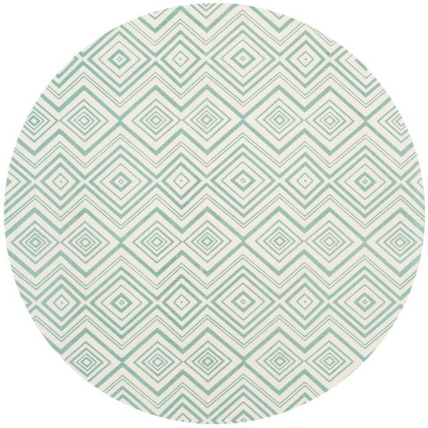 Safavieh Handmade Cedar Brook Ivory/ Light Teal Cotton Rug (5' Round)