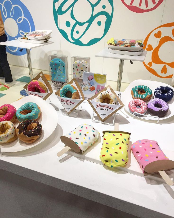 """100 Likes, 8 Comments - Yumémi Arai (@sukenosocks) on Instagram: """"#NYNOW ICE POP, SUSHI 🍣, & DOUGHNUT socks , come stop by & see these foodie favs!Booth#3756"""""""