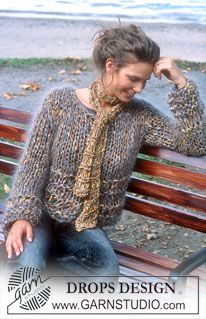 DROPS 84-9 - DROPS Jumper in Salsa & Vienna and scarf in Salsa - Free pattern by DROPS Design