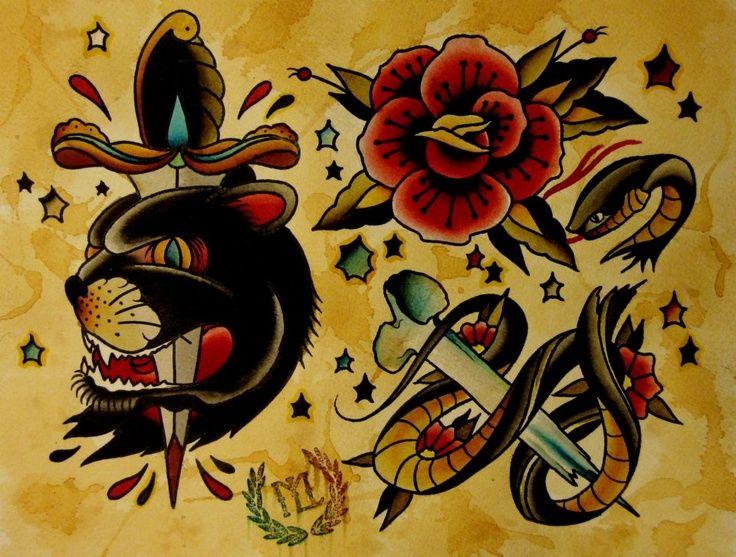 Some #tattoo flash by Luis Marquardt at Machete Death ...