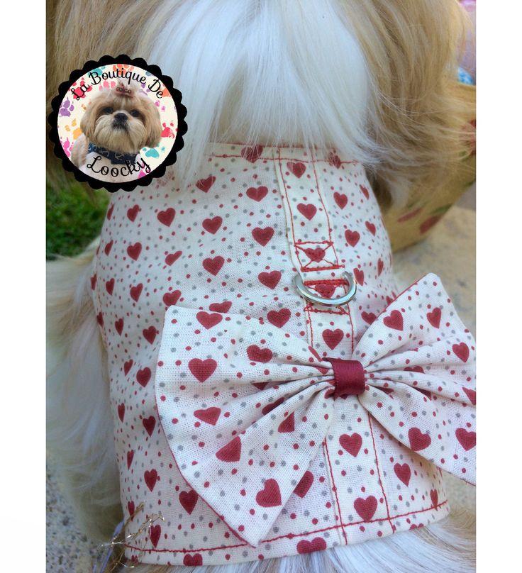 HARNAIS POUR CHIEN tissu coton beige et cœur rouge pour (shih tzu,bichon, caniche ...)tour de poitrine : 42-46 cm / cadeau pour chien de la boutique laboutiquedeloocky sur Etsy