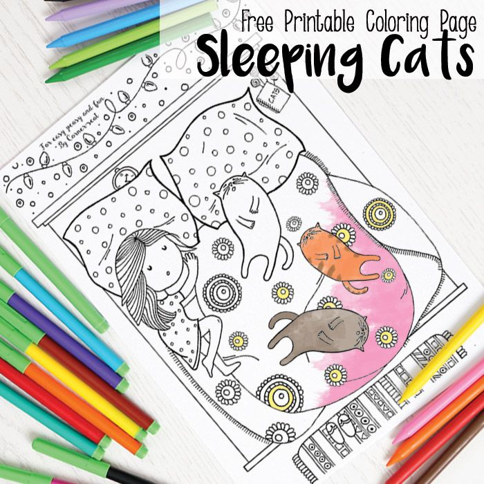 sleeping cats coloring page coloring pages for adults