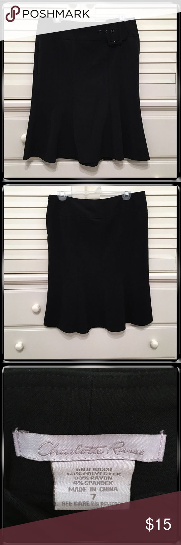 Charlotte Russe Black Dress Skirt Charlotte Russe black skirt. So versatile. Faux Buckle. Zip closure. Can be worn for work or play. Excellent condition!  Size 7. Charlotte Russe Skirts