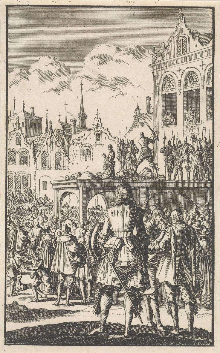 Jan Luyken | Onthoofding van de graven Egmond en Horne, 1567, Jan Luyken, 1699 | De graven Egmond en Horne worden samen met andere edelen op de Grote Markt van Brussel met het zwaard onthoofd op bevel van de hertog van Alva. Een menigte heeft zich rond het schavot verzameld.