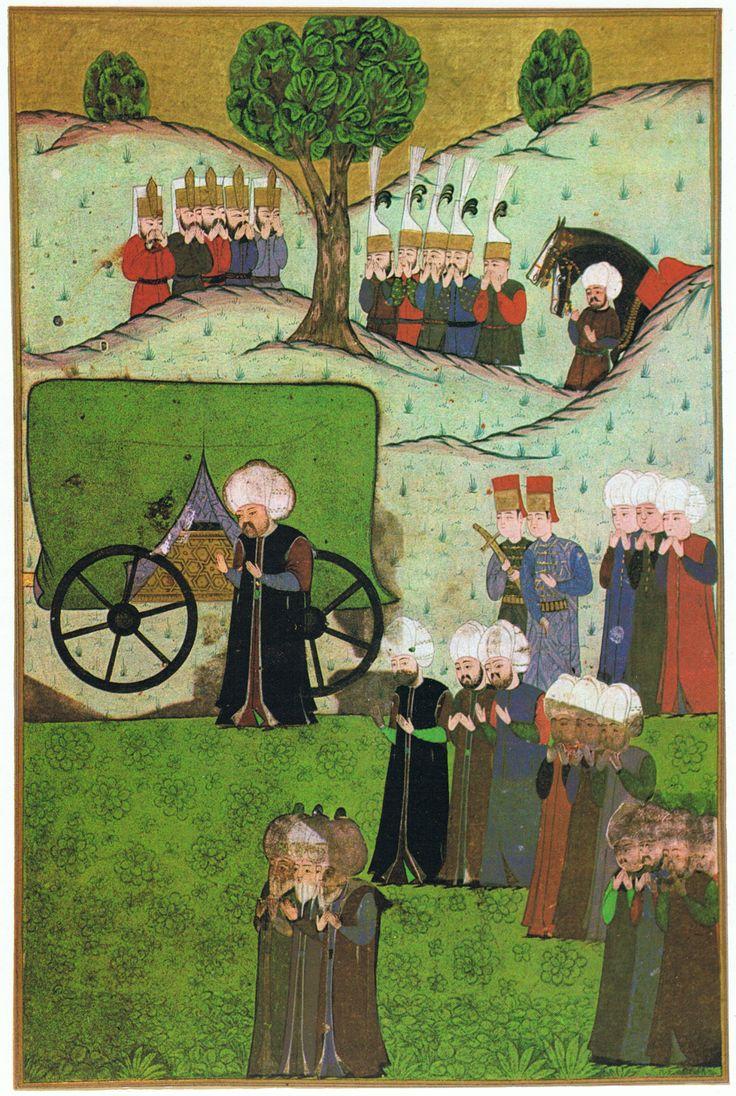 Sultan Selim II. bei der Ankunft von Süleymans I. Leichnam nahe Belgrad (Miniatur aus dem Nüzhet el-Esrar)