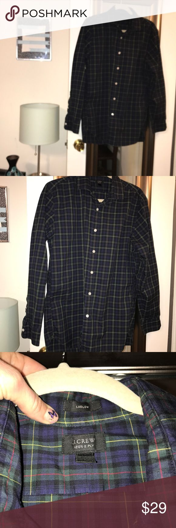 J. Crew Blue Plaid Button down shirt size M slim J. Crew Blue Plaid Button Ludlow 120's 2 ply down shirt size M slim. Preowned Men's J Crew Slim size medium blue and green plaid Oxford. My boyfriend decided I bought him too many plaid J Crew shirts and wants to purge. No stains or flaws. 100% cotton. Great shape. Bundle with my other men's shirts for additional discount J. Crew Shirts Casual Button Down Shirts
