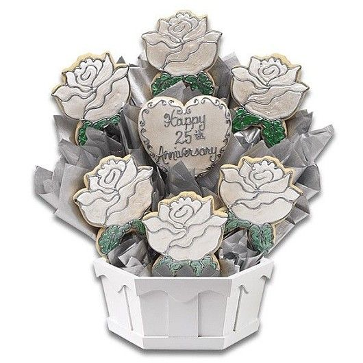 Silver Anniversary Cookie Bouquet Cookies By Design