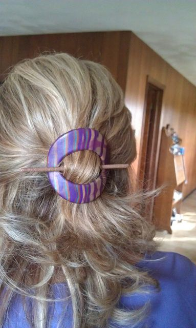 Hair slide or a shawl pin, made from polymer clay.