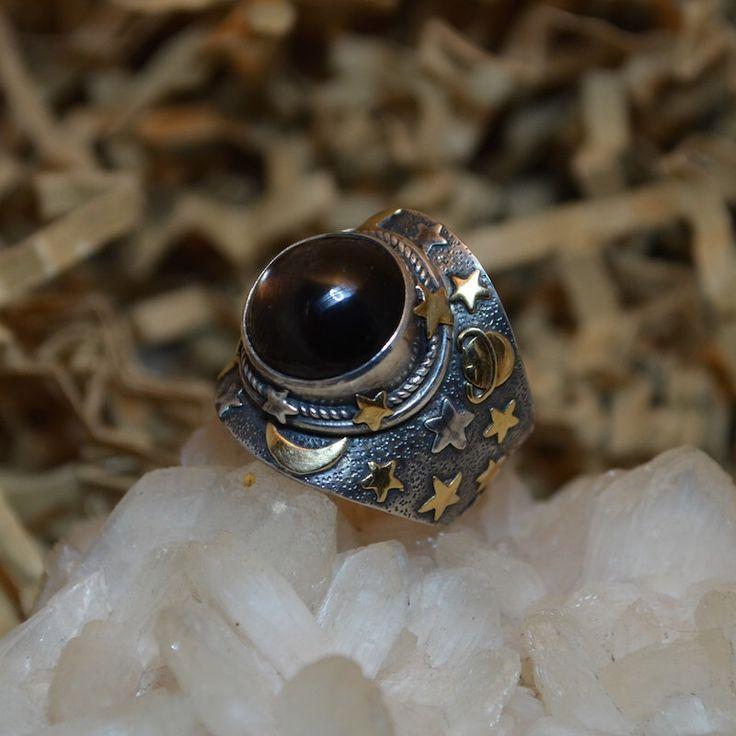 Starry Night Cat's Eye Ring - Gemstone Silver Jewelry by SassiBijou on Etsy https://www.etsy.com/listing/208628746/starry-night-cats-eye-ring-gemstone