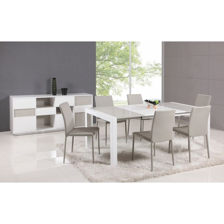 Somette White Grey Parson Extendable Dining Table By