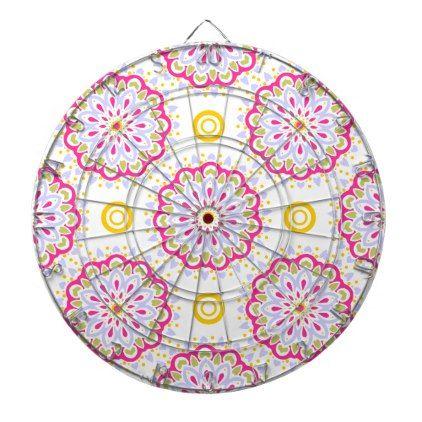 Colorful bohemian ornamental design dartboard with darts - modern gifts cyo gift ideas personalize