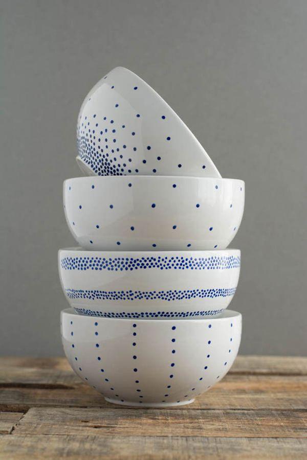 Eenvoudig maar erg schattig! Simpel te maken met een porselein stift.
