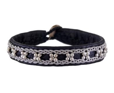 Maria Rudman | Black Leather and Embroidered Pewter Bracelet in Under $250 Bracelets at TWISTonline