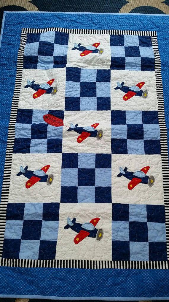 Airplane Crib Quilt.Airplane Crib Toddler Blanket Airplane