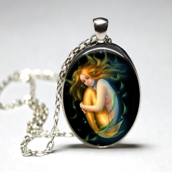 The Lonely Mermaid Handmade Glass Oval Pendant.