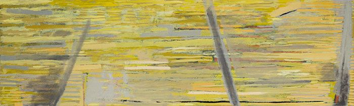 Andre Naude - Urban fence  Mixed media on canvas (100 x 30cm)