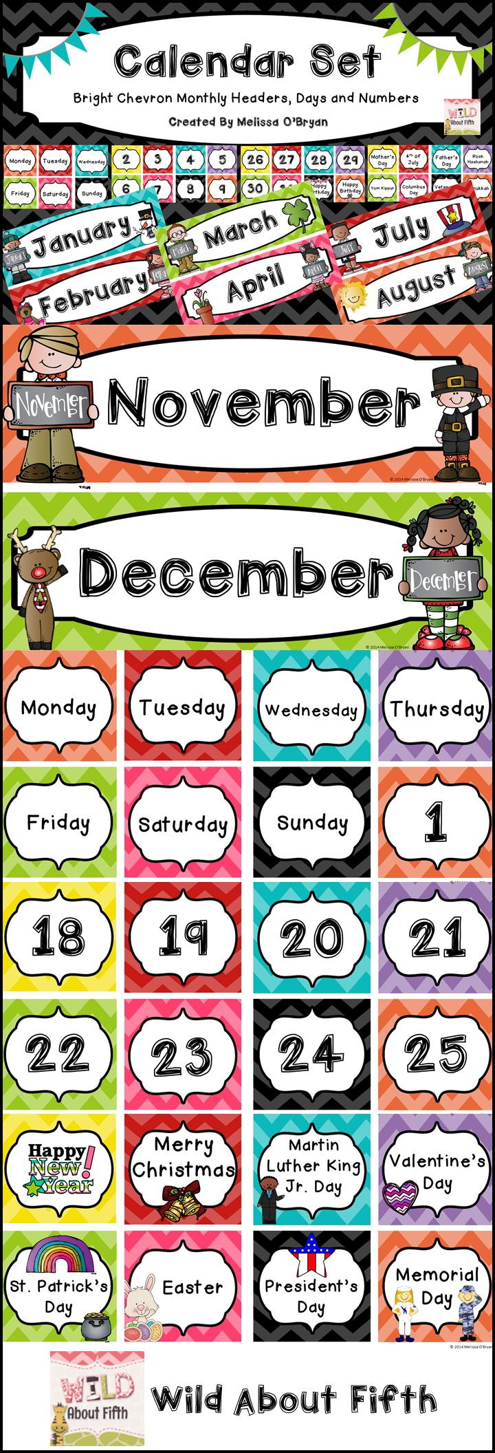 FREE - Brand new year - Brand new calendar set!! Brighten up your classroom with this chevron décor calendar set - will last for years. Lose or rip a piece? Just reprint. Need more holidays? Just reprint. Matches perfectly with all of the items in my classroom décor line. #wildaboutfifthgrade