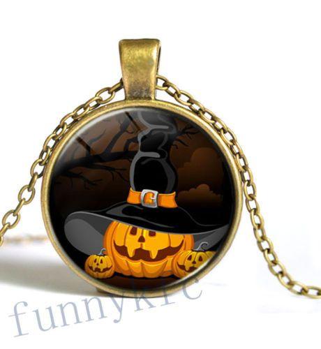 Vintage Halloween Spooky Pumpkin Glass Cabochon w/ Chain BUY (1) GET (1) 'FREE' !