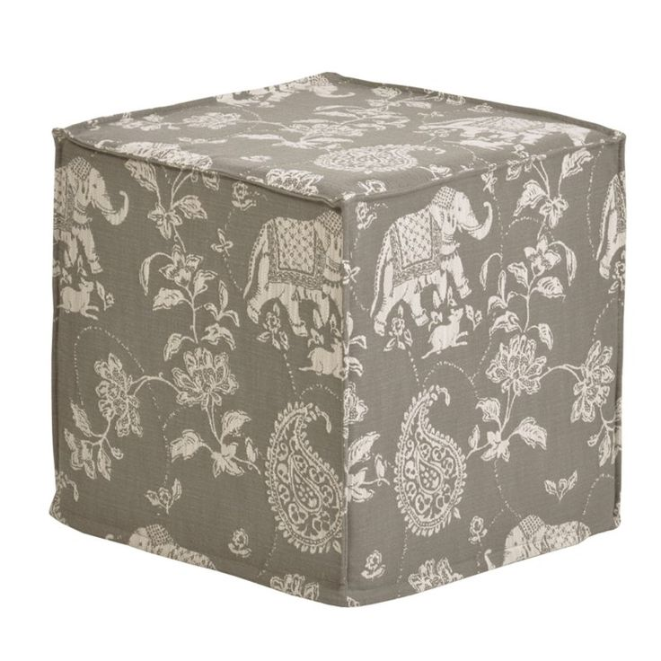 Brite Ideas Decorating Isabelle Smoke 17 in. Seamed Footstool - BP17S3992