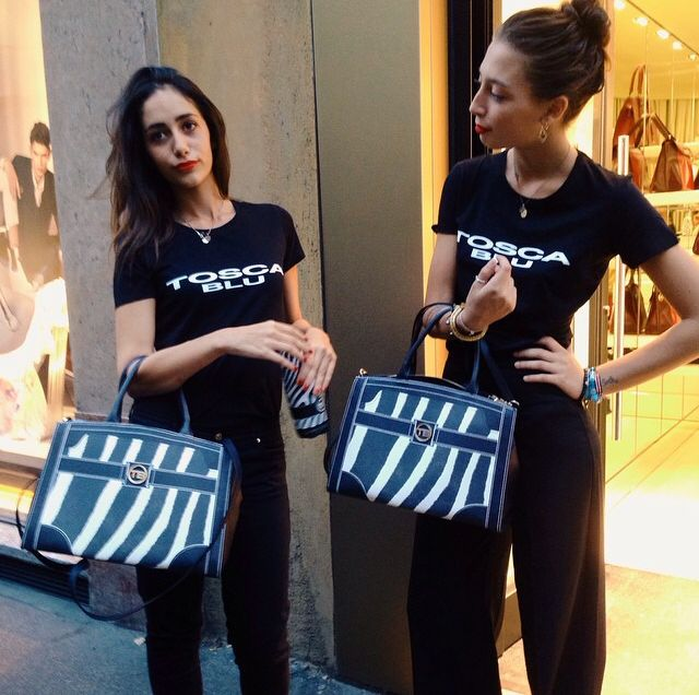 The Tosca Blu girls at Vogue Fashion's Night Out in Milan - with MIA bag