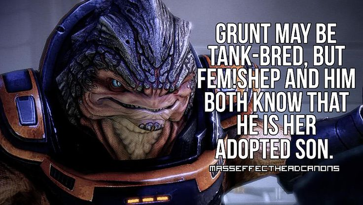 """""""Grunt maybe tank-bred, but fem!Shep and him both know that he is her adopted son."""" Submitted by fascinatem3."""