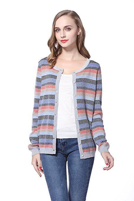$18.28(60%off) Knitbest Women's Knitwear Long Sleeve Striped Checked Button Down Wool Cardigan