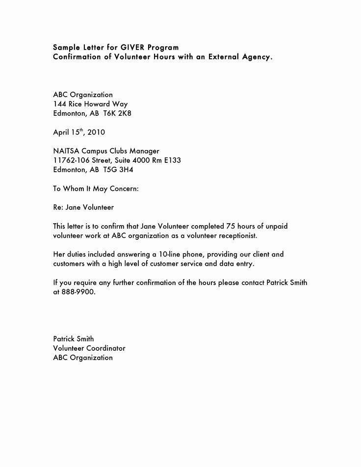 Resignation Letter Volunteer Organization Beautiful Volunteer Hours Letter Templatevolunteer Community Service Hours Reference Letter Template Volunteer Hours