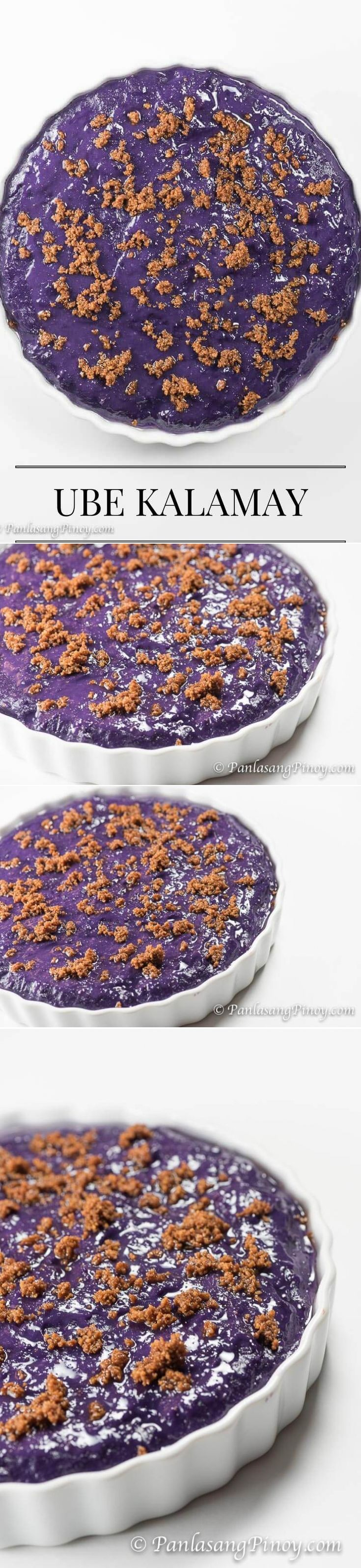 "Ube kalamay is a type of Filipino ""kakanin"" (also referred to as rice cake). It made from grated purple yam, which is known as ""ube"" in the Philippines. The other ingredients as far as this recipe is concerned are glutinous rice flour, white sugar, and ube flavoring.   This has a sweet taste and it is gooey (soft and sticky). I enjoy eating ube kalamay as meryenda in the middle of the afternoon. It can also be eaten during breakfast with a cup of coffee or hot chocolate."