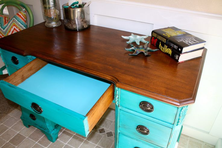 """I get so many compliments on this turquoise color milk paint. It's from the Real Milk Paint Company and their name is """"cobalt"""". This ti..."""