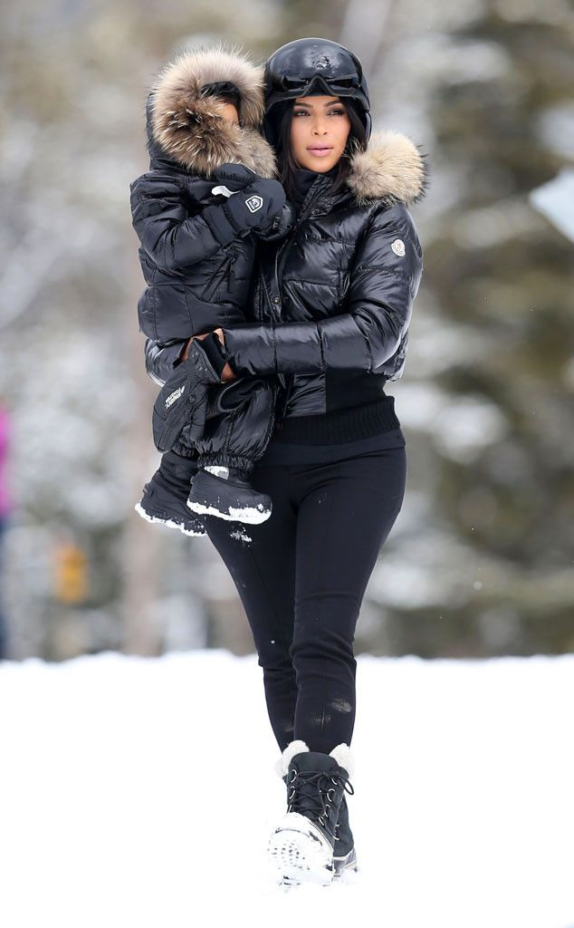 Kim Kardashian and North West Bundle Up in Matching Parkas, Snow Boots on Montana Vacation—See the Pics!  Kim Kardashian, North West, Skiing