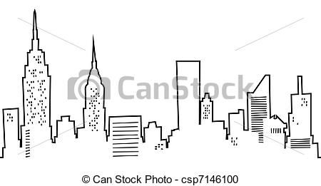 skyline drawing york cartoon drawings outline silhouette clip easy line clipart illustration nyc canstockphoto illustrations royalty icon icons graphics simple