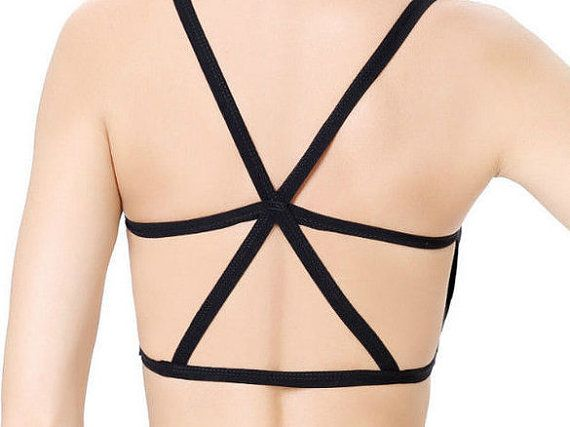 Strappy Bra Festival Clothing Black Strappy Top by ThePaintedTee
