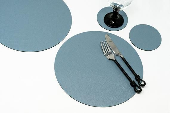 Set Of 4 8 Piece Vintage Grey Round Leather Placemats 4 Leather Coasters Hand Made In The Uk Table Mats Di Leather Coasters Round Leather Pieces Vintage