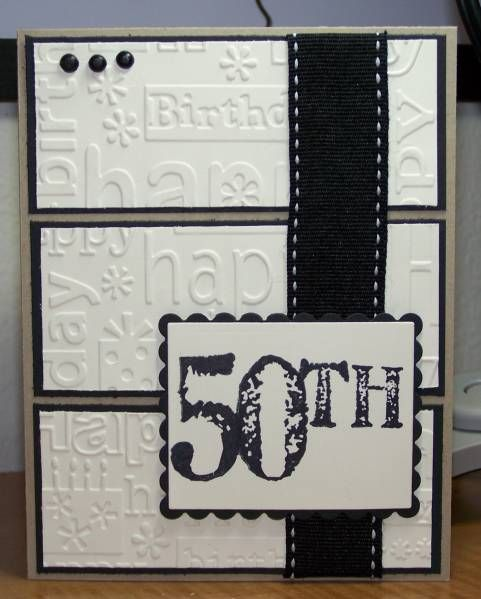 handmade birthday card ... black and white ... split panel design ... birthday words embossing folder texture on the panels ... like the big numbers for the birthday year number ... great card for milestone b-day!!