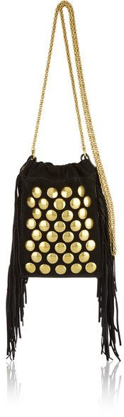 Jérôme Dreyfuss - Gary Small Fringed Studded Suede Shoulder Bag - Black