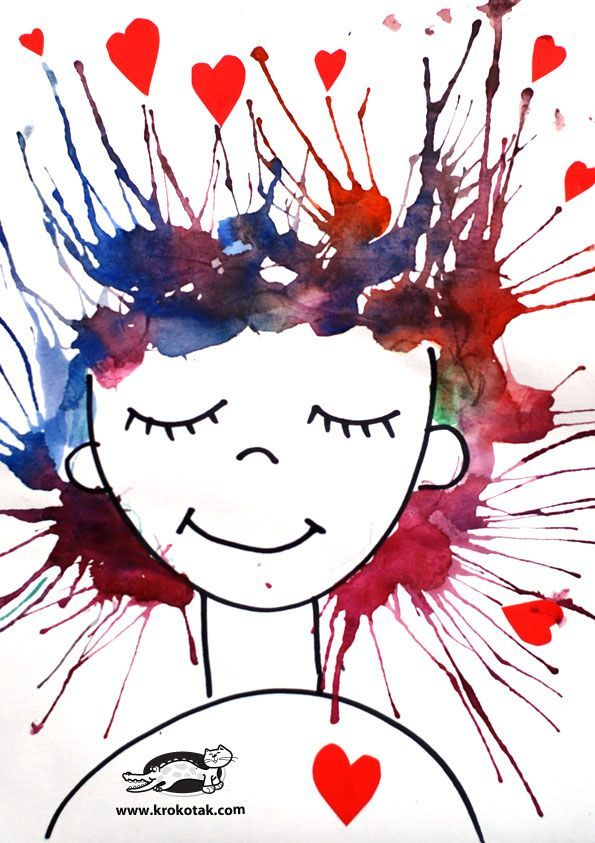 """""""I'm crazy in love with you"""" - awesome blow paint Valentine's day art project for kids!"""