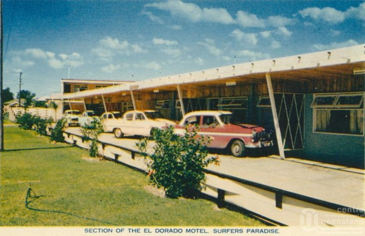 """<span class=""""caption-caption"""">Section of the El Dorado Motel, Surfers Paradise</span>, c1959. <br />Postcard by <span class=""""caption-publisher"""">Sidues Series</span>, collection of <span class=""""caption-contributor"""">Centre for the Government of Queensland</span>."""