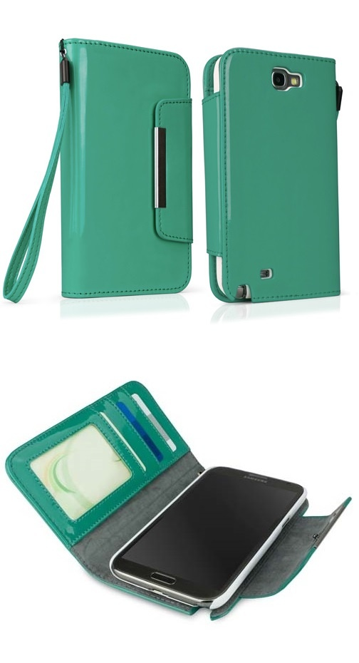 What'd ya say?   Perfect Galaxy Note 2 Case JUST IN TIME! ❤ @BoxWave a liquid sheen, patent leather wallet in Emerald green, Pantone's Color of 2013!